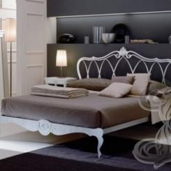 Кованая кровать белого цвета КК_8